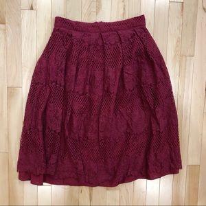 Burgundy lace midi skirt